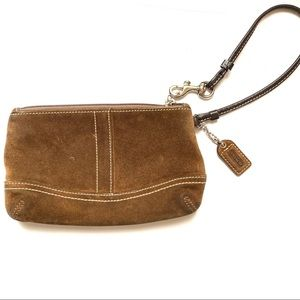 Coach Suede Leather Brown Wristlet